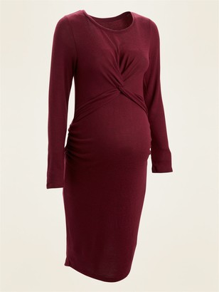 Old Navy Maternity Cozy Plush-Knit Twist-Front Bodycon Dress