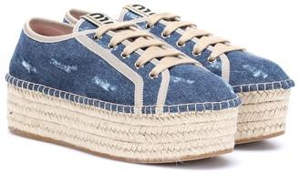 Miu Miu Denim espadrille platform sneakers