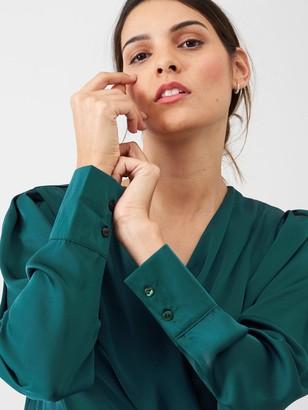 Very Satin Wrap Blouse - Green