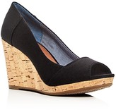 Toms Women's Stella Peep Toe Wedge Pumps