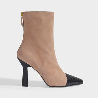 Paris Texas Two Tone Ankle Boots In Beige And Black Suede And Croc Embossed Leather