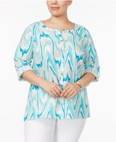 JM Collection Plus Size Printed Tab-Sleeve Blouse, Created for Macy's