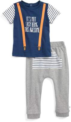 Rosie Pope Suspender Shirt & Sweatpants Set (Baby Boys)