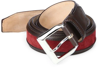 Sutor Mantellassi Truman Veloucal Adjustable Leather & Suede Belt
