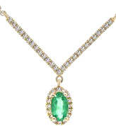 Diana M Fine Jewelry 14K 0.32 Ct. Tw. Diamond & Emerald Necklace