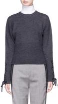 Neil Barrett Lace-up detail cropped wool sweater