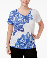 INC International Concepts Plus Size Embellished T-Shirt, Created for Macy's
