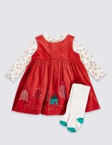 Marks and Spencer 3 Piece Pure Cotton Applique Cord Pinny Dress