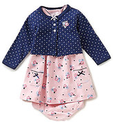 Little Me Baby Girls 3-12 Months Pindotted Cardigan and Flower-Printed Dress Set