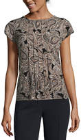 Liz Claiborne Short Sleeve Scoop Neck Paisley Top