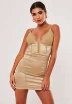 Missguided Nude Satin Lace Cup Mini Dress
