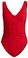 Thumbnail for your product : Karla Colletto Swim Billie V-Neck Button-Detail One-Piece Swimsuit