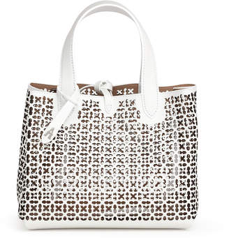 Alaia Frida Mini white and black laser-cut bag
