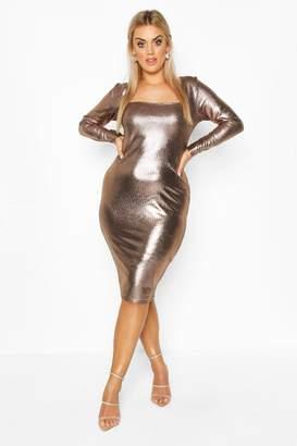 boohoo Plus Metallic Square Neck Long Sleeve Midi Dress
