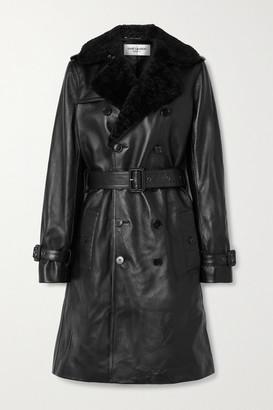 Saint Laurent Shearling-trimmed Leather Trench Coat - Black