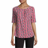 Liz Claiborne Elbow Sleeve Crew Neck Knit Blouse-Talls