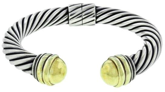 David Yurman Two Tone Wide Cable Hinged Bracelet