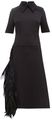 Duncan - Peacock Feather-trimmed Silk-faille Dress - Womens - Black