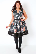 Yours Clothing Black, Peach & Multi Floral Print Skater Dress With Mesh Hem Panel