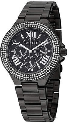So & Co SO & CO NY Womens Madison Black Stainless Steel Bracelet Black Pvd Bezel Filled With Crystals Dress Quartz Watch J151P96 Family
