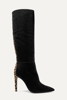 Giuseppe Zanotti Kanda Suede And Leopard-print Calf Hair Knee Boots - Black