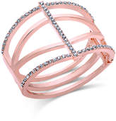 INC International Concepts Rose Gold-Tone Pavé Hinged Open Cuff Bracelet, Only at Macy's