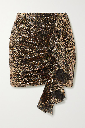 In The Mood For Love Emely Ruffled Sequined Tulle Mini Skirt - Gold