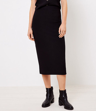 LOFT Ribbed Pull On Midi Skirt