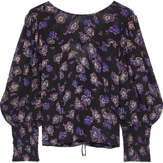 Ganni Tie-back Floral-print Georgette Blouse