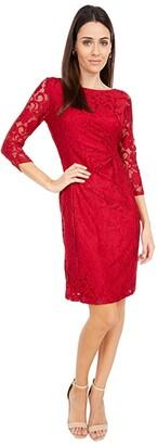 Tahari ASL Long Sleeve Stretch Lace Side Draped Dress (Mystic Teal) Women's Clothing