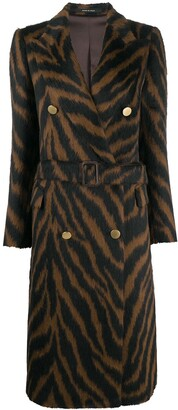 Tagliatore Tiger-Print Double-Breasted Coat