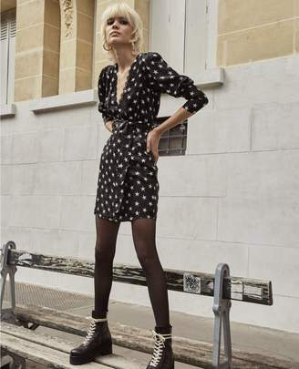 The Kooples Short printed dress with belt and frills