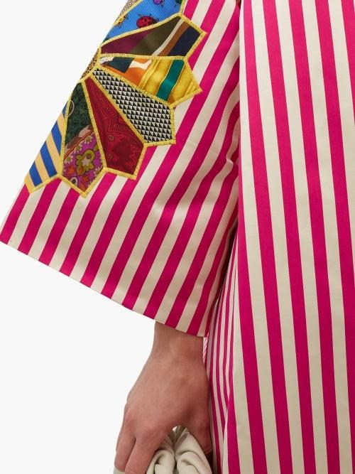 Thumbnail for your product : RIANNA + NINA Star-applique Striped Silk-satin Coat - Multi