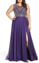 Mac Duggal Plus Size Women's Embellished Ballgown