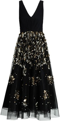 BURNETT NEW YORK Embellished V-Neck Tulle Cocktail Dress