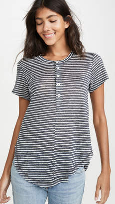 Wilt Stripe Linen Button Henley Tee