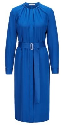 HUGO BOSS Long Sleeved Belted Dress In Italian Crinkle Crepe - Light Blue