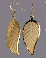 Lisa K gold 'Tea Leaf' drop earrings