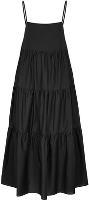 Matteau The Tiered Black Cotton Maxi Dress