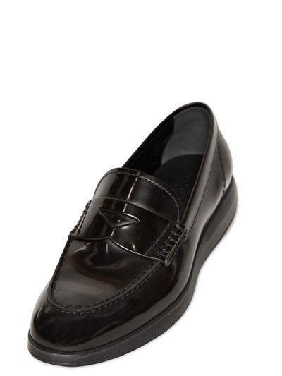 Hogan 20mm Dressx Brushed Leather Loafers