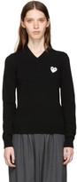 Comme des Garcons Black & White Heart Patch V-Neck Sweater