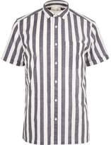 River Island Mens White pajama stripe short sleeve shirt