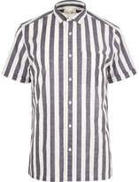River Island Mens White pyjama stripe short sleeve shirt