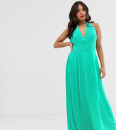 TFNC Petite Petite pleated maxi dress with back detail in green