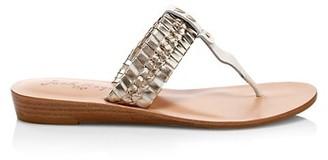 Jack Rogers Tinsley Metallic Braided Leather Demi Wedge Sandals