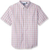 Arrow Men's Big-Tall Short Sleeve Mini Plaid Hamilton Poplin