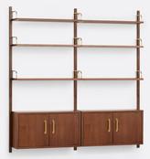 Rejuvenation Hart Modular Walnut Double Shelving Unit with Double Cabinets