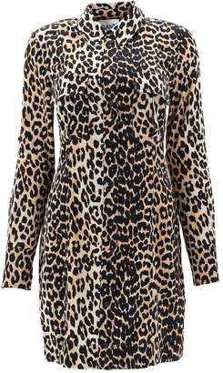 Ganni Leopard Print Shirt Dress