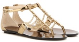 Jimmy Choo Wallace Flat Embellished Leather Sandals