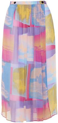 Paul Smith Pleated Printed Georgette Midi Wrap Skirt